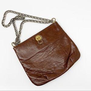 VTG Leather Purse w/ Gold Lions & Chain Strap